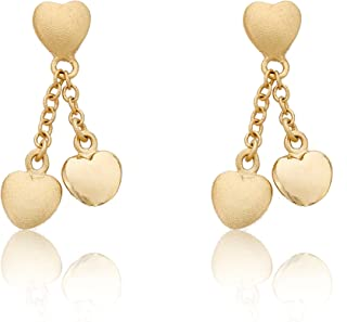 Kids Earring - 14k Gold-Plated Double Dangle Earring - Surgical Steel Post For Sensitive Ears