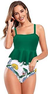 SHEKINI Women's Ruffle Two Piece Tankini Swimsuits with with Triangle Briefs