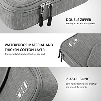 Electronics Organizer, Jelly Comb Electronic Accessories Double Layer Travel Cable Organizer Cord Storage Bag for Cab...