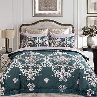 JELLYMONI Green 100% Egyptian Cotton Duvet Cover Set,3 Pieces Boho Damascus Pattern Floral Print Bedding Set with Double Zipper Closure. Reversible Duvet Cover King Size(104x90Inch)(No Comforter)
