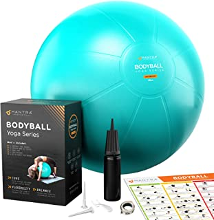 Exercise Ball | Stability Ball for Fitness, Yoga, Pilates, Pregnancy, Birthing or Office Desk Chair -55cm Extra Thick, Anti-Burst & Non-Slip, Gym Quality Workout Ball For Adults - With Pump & Guide