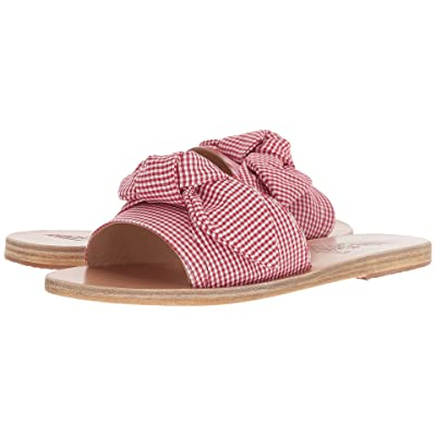 Ancient Greek Sandals Taygete Bow (Gingham Red Print Cotton) Women