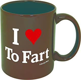 Funny Guy Mugs I Love To Fart Ceramic Coffee Mug, Brown, 11-Ounce