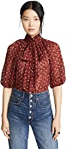 Rebecca Taylor Women's Short Sleeve Dot Top with Tie at Neckline