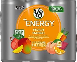 V8 +Energy, Healthy Energy Drink, Natural Energy from Tea, Peach Mango, 8 Ounce Can, 6 Count