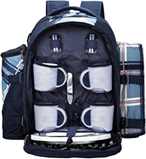 apollo walker Picnic Backpack Bag for 4 Person with Cooler Compartment, Detachable Bottle/Wine Holder, Fleece Blanket(45
