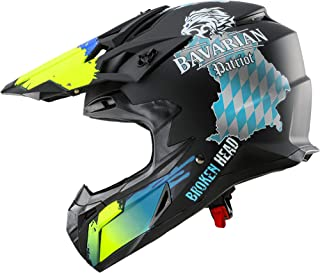 Broken Head Bavarian Patriot - Schwarzer Motorrad-Helm Für MX, Motocross, Sumo, Quad - Mit Bayern Motiv - Größe L