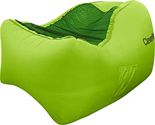 CleverMade AirChair: Lightweight Recliner Style Inflatable Air Lounger, Portable Outdoor Chair With Carry Bag And Ground Stakes, Lime