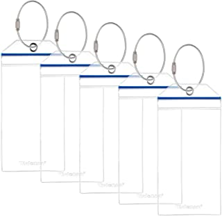 Cruise Luggage Tag Holders, Wisdompro 5 Pack Clear Waterproof PVC Pouch with Zip Seal and Steel Loops for Cruise Ships, Tr...