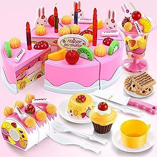 TurnRaise Niños Pretend Play alimentos juguete Set - 75 PC pastel de cumpleaños (Rosa)