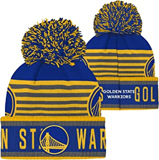 OuterStuff Golden State Warriors NBA Youth Cuffed Knit Pom Hat