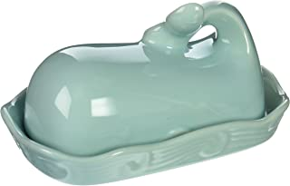 Creative Co-op DA4866 Stoneware Whale Shaped Butter Dish, Aqua Blue