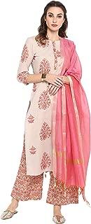 Janasya Women's Multicolor Pure Cotton Kurta With Palazzo And Dupatta