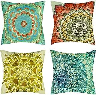BOJIN Decorative Throw Pillow Covers 18x18 Inch Square Cotton Linen Cushion Sofa Bedroom Car Set of 4 - Mandala