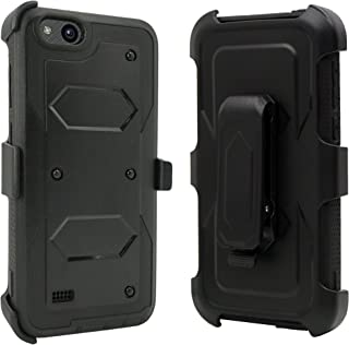 ZTE Blade Vantage Case, ZTE Tempo X Case, ZTE Avid 4 Case, Customerfirst Shockproof Rugged Hybrid Armor Case Cover with Belt Clip Holster & Built-in Screen Protector for ZTE Tempo X N9137 (Black)