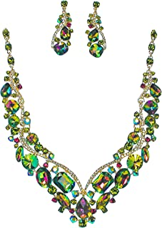 SP Sophia Colection Crystal Rhinestone Statement Necklace Earrings Set for Women, Weddings, Bridesmaid, Proms
