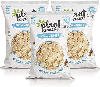 Plant Snacks Salt & Vinegar Cassava Root Chips, Vegan, Big-8 Allergen Free, Non-GMO Project Verified, Gluten Free, Grain Free, No Added Sugar, 5 oz Bags, Pack of 3