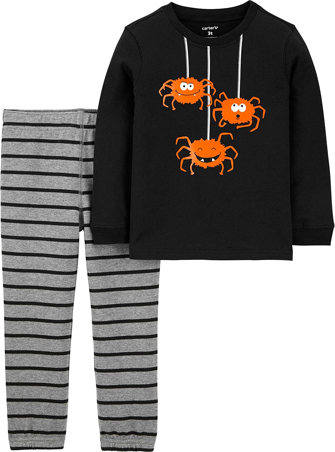 Carter's Baby Boys' Halloween 2-Pc Sets (3T, Black Spiders/Heather)