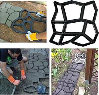 Irregular DIY Pavement Mold Walk Maker Path Maker Brick Mold Concrete Form Pathmate Stepping Stone Molds for Concrete Mould Reusable for Garden Court Yards Patios and Walks, 13.8 x 13.8inches