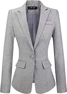 Womens Slim Fit Casual Work Office Business Blazers One Button Jacket