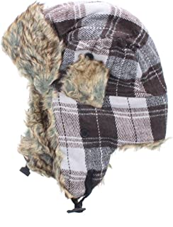 Milani Original Trapper Flannel Plaid Pattern Style Hunting Aviator Winter Hat with Faux Fur and Strap