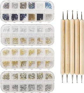 Kit de suministros de arte de uñas con purpurina y brillantes, 4 cajas de accesorios de diseño de uñas con 5 bolígrafos, o...