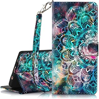 Galaxy S8 Plus Case, Hocase PU Leather Full Body Protective Wallet Case Cover with Credit Card Holders, Wrist Strap, Magnetic Closure for Samsung Galaxy S8 Plus (SM-G955) 2017 - Mandala in Galaxy