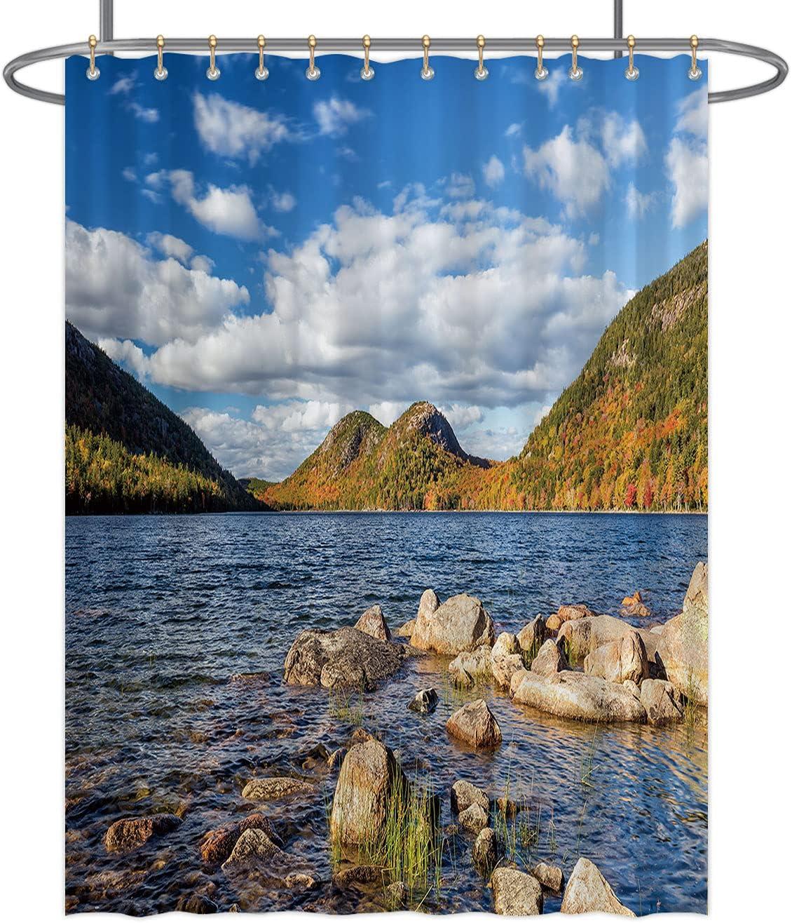 Jordan Pond in Acadia National Durable Gorgeous Curtain Regular discount Shower Park Maine