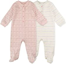 Baby Girl Sleeper Set, 2-Pack Owl Print Footed Sleep and Play Pajamas, 9 Month White, Light Pink