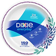 "Dixie Everyday Paper Plates,10 1/16"" Dinner Size Printed Disposable Plate, 150 Count (1 Pack of 150 Plates)"