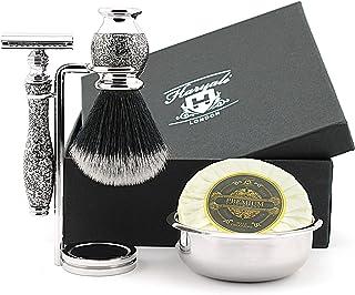 Haryali London Zestaw do golenia – tradycyjna maszynka do golenia z podwójną krawędzią z syntetycznym włosiem, stojak na s...