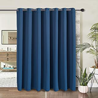 WONTEX Room Divider Curtain- Privacy Blackout Curtains for Bedroom Partition, Living Room and Shared Office, Thermal Insulated Grommet Curtain Panel for Sliding Door, 8.3ft Wide x 7ft Long, Navy