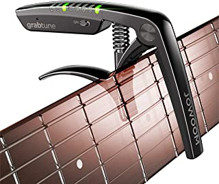 کاپو-تیونر گیتار آکوستیک JOWOOM Grabtune | تجهیزات 2 در 1 | سیستم تنظیم دقیق و دقیق | نمایشگر تمام لامپ LED Edge Lighting | باتری قابل شارژ USB | آبکاری کروم (سیاه)