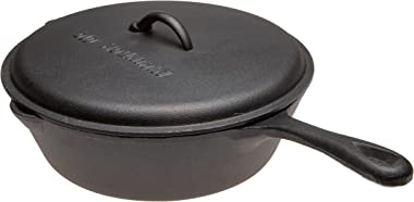 Old Mountain Pre Seasoned 10110 5 Quart Deep Fry Skillet with Assist Handle and Lid, 12 Inch x 3 1/2 Inch