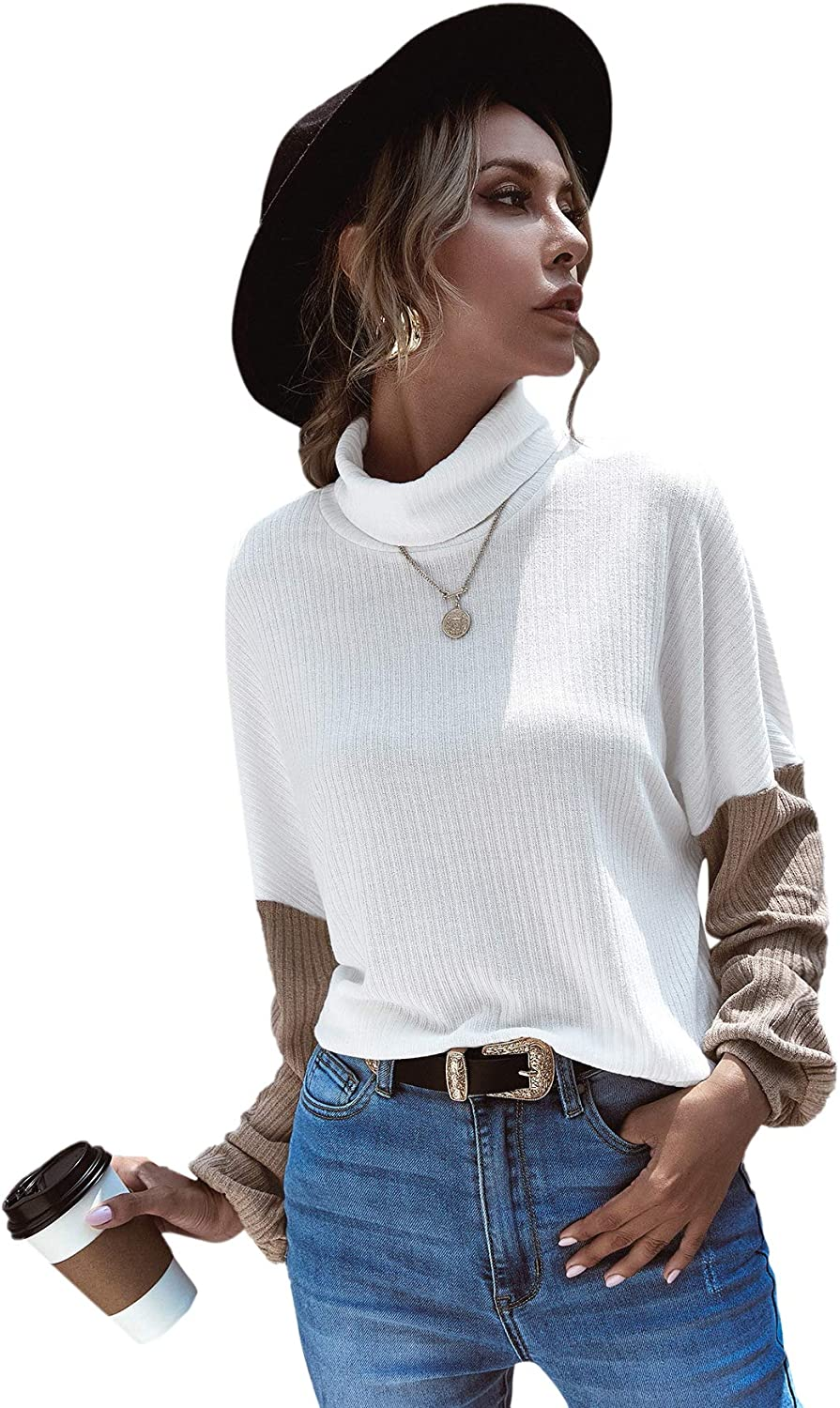 Floerns Women's Casual Long Sleeve Turtleneck Color Block Knit Loose Pullover Tops