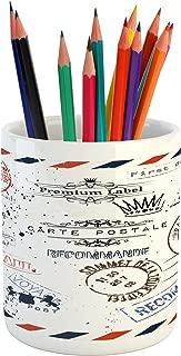 Ambesonne Vintage Pencil Pen Holder, Retro Post Stamps Postage Mail Paris Antique Design Vocation Traveling, Printed Ceramic Pencil Pen Holder for Desk Office Accessory, Multicolor