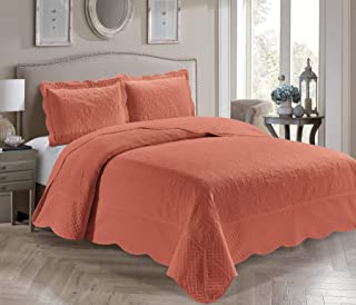 Home Collection 3 Piece King/California King Size Embossed Solid Coral Orange Coverlet Bedspread New # Veronica