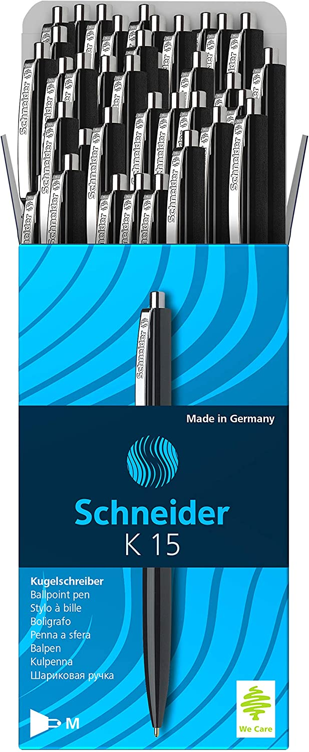 Cheap mail order shopping Schneider New color K15 Ballpoint Pens with Steel of Black Clip Pack 50