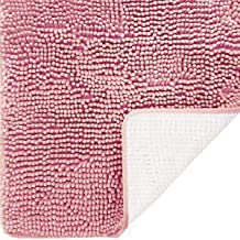 DEARTOWN Non-Slip Thick Microfiber Bathroom Rugs, Machine-Washable Bath Mats with Water Absorbent 27.5x47 Inches Pink