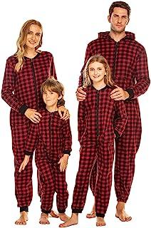 Ekouaer Pajamas Onesie Fleece Matching Couple Sleepwear Christmas Women & Men Zipper One-Piece Jumpsuit with Pocket