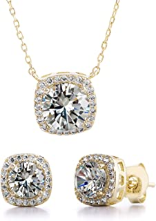 Devin Rose Stud Halo Cushion Shaped Earrings for Women and 18 Inch Necklace for Women Jewelry Set Made with Swarovski Crys...