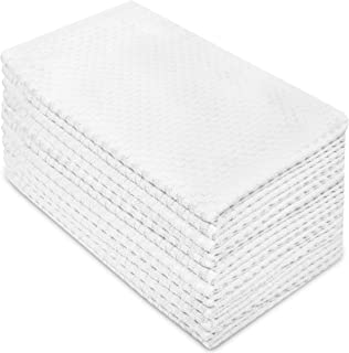 Cotton Craft - 12 Pack - Euro Cafe Waffle Weave Terry Kitchen Towels - 16x28 Inches -White - 400 GSM quality - 100% Ringspun 2 Ply Cotton - Highly Absorbent Low Lint - Multi Purpose