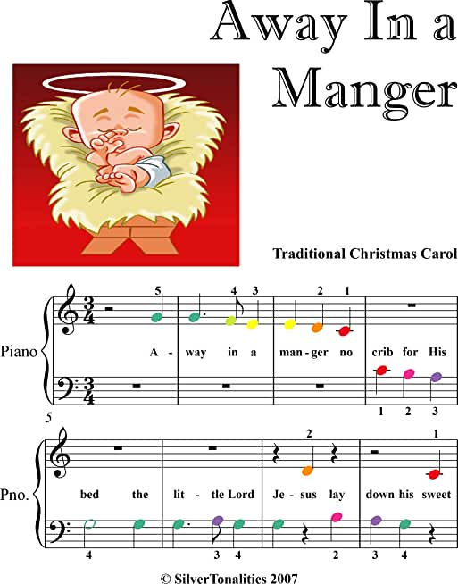 Away In a Manger Beginner Piano Sheet Music with Colored Notation (English Edition)