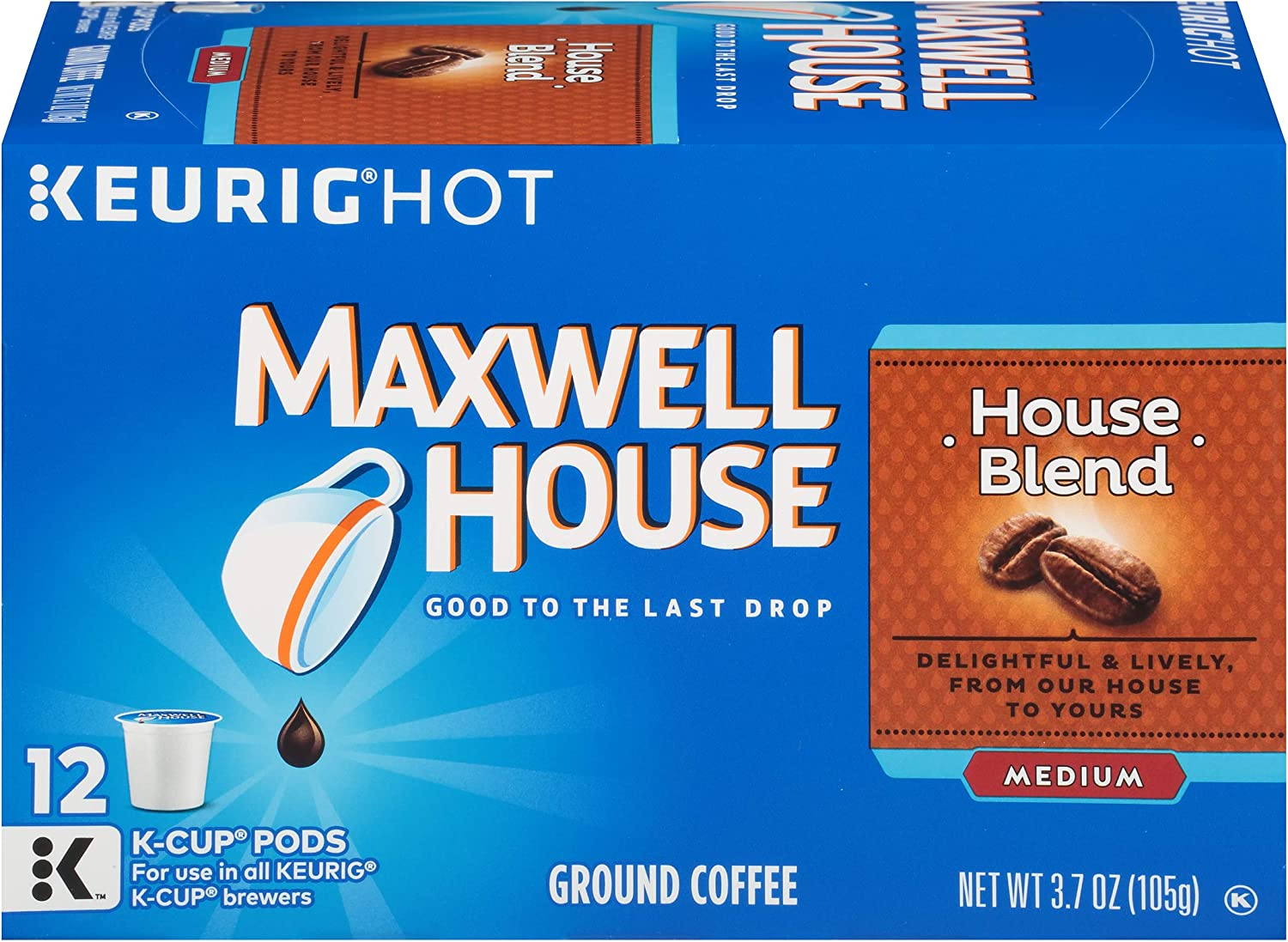 Maxwell House House Blend Keurig K-Cup Coffee Pods (72 Count, 6 Boxes of 12)