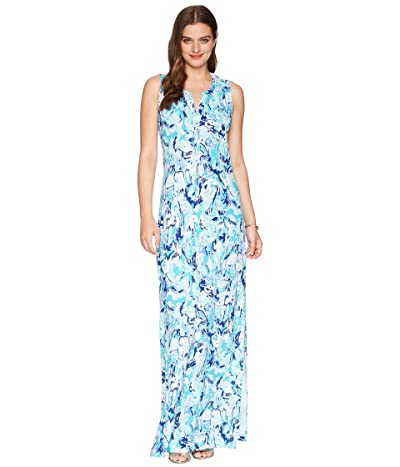 Lilly Pulitzer Essie Maxi Dress (Tropical Turquoise Elephant Appeal) Women