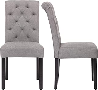NOBPEINT Fabric Dining Chairs with Wood Legs Set of 2, Grey