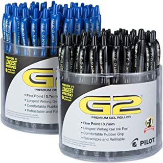 PILOT G2 Premium Refillable & Retractable Rolling Ball Gel Pens, Fine Point, Black/Blue Inks, Pack of 2 Tubs (144 Total) (56040)