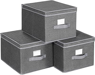SONGMICS Set of 3 Foldable Storage Boxes with Lids, Fabric Cubes with Label Holders, Storage Bins Organizer, 11.8 x 15.7 x 9.8 Inches, Smoky Gray URYLB40G