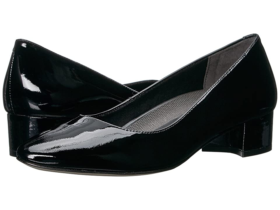 Retro Vintage Style Wide Shoes Walking Cradles Heidi Black Patent Womens 1-2 inch heel Shoes $99.00 AT vintagedancer.com