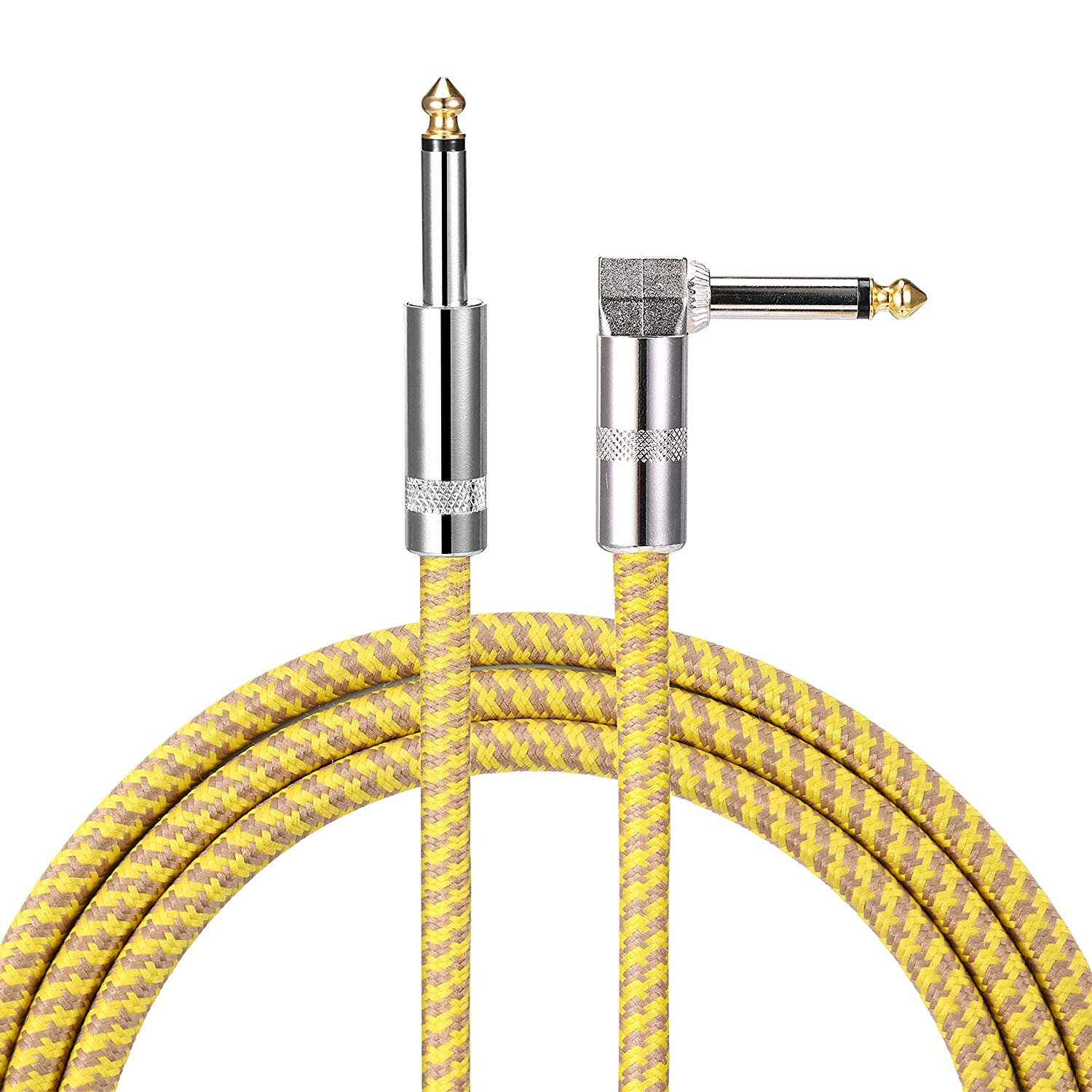 Asmuse Guitar Cable 3M Noiseless Right Angle to Straight 1//4 6.3mm Plugs Retro Braided Instrument Cable Shielding Pro Phono Cord for Acoustic Classical Electric Guitar Bass Keyboard to Amps